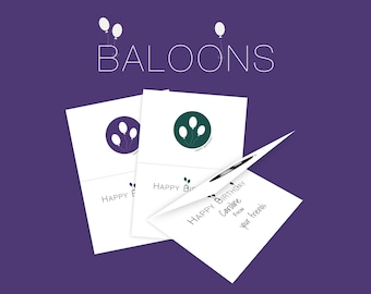 Baloons Printable Birthday Cards