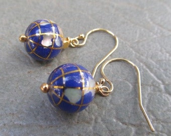 Lapis Globe World earrings