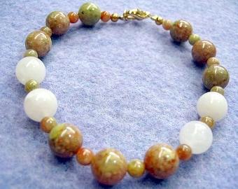 Natural Jasper Stone Bead Bracelet, Fall Gemstone Bracelet with White Jasper Beads, Womens Handmade Jewelry Gift