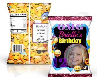 Digital Custom Emoji Chip Bags, Emoji Party Printable, Emoji Party Favors, Emoji Goody Bags, Emoji Treat Bags, Party Bags, Custom Favors