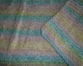 Baby to Toddler Knitted Afghan Blanket - Pastel Rainbow