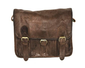 Coco Grey Leather Messenger Satchel | Festival Style