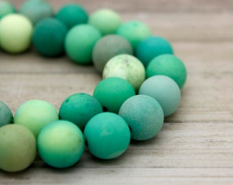 Matte Green Moss Agate Round Gemstone Beads (4mm 6mm 8mm 12mm)