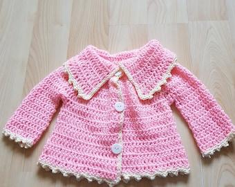 9-12 months pink and cream cardigan/coat