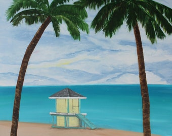Beach Before the Storm, Original Painting on Canvas, Beach Painting, Landscape Painting