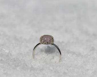 rose quartz ring, pink promise ring for her, dainty pink ring for her, clear dainty stone ring, tiny crystal ring women, purity ring gift