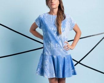 Blue women dress, blue dress, summer dress, casual dress, sun dress, cotton dress, women blue dress, women cotton dress, blue mini dress.