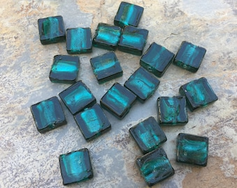 Square Teal Beads, Glass Teal Beads, 12mm, 20 beads per package