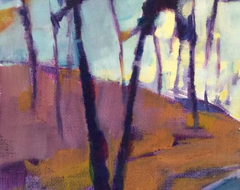 Sinking Sun original 7x5 inches acrylic landscape painting of sunset over a hill on a chilly day in the woods by Maryland artist Barb Mowery