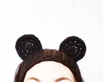 Mouse Ear Headband | Sparkle Black Mouse Ears, Women's Headbands, Adjustable Headbands, Crochet Headbands with Ears, Animal Ear Headbands