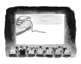 """Print of my New Yorker cartoon """"Shoelace: The Movie"""""""