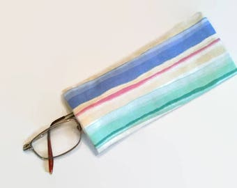 Colorful Striped Upcycled Eyeglass Case Sunglasses Holder