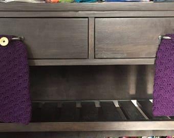 4 Kitchen Hand Towels, wash cloth, rag, dish cloth, bathroom, washroom, warsh rag, handmade, crochet, cotton, wood button, jewl tone, shell