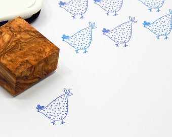 Spotty Chicken Olive Wood Stamp