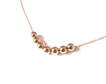 Rose Gold Beaded Necklace, Copper Jewelry, Simple Bead Necklace