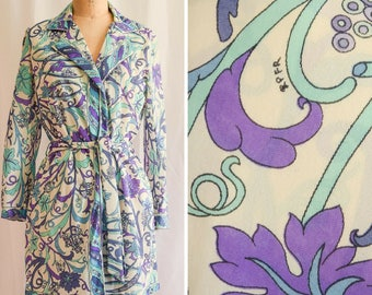 Emilio Pucci for Formfit Rogers Vintage 1960's Short Robe with Belt | Iris Morning | Teal and Purple Op Art Print with EPFR Signature M/L