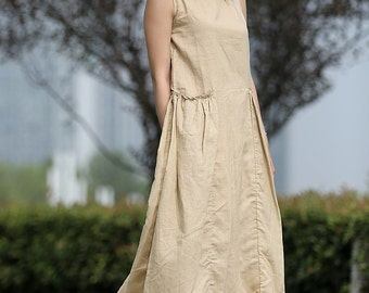 Linen dress, maxi dress, woman dress, linen dress pockets, plus size dress, plus size clothing, sleeveless dress, casual dress C259