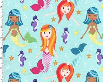 Michael Miller Mer-Mates Fairy Tails Fabric - Aqua - Priced by the half yard *CUT CONTINUOUSLY*