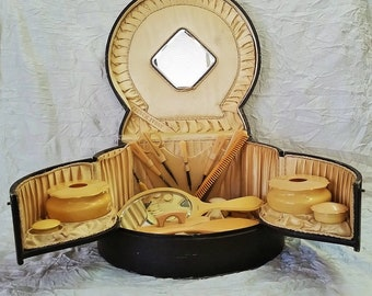 Antique Vanity Set, French Ivory (celluloid) Full Kit in Opulent Victorian Box