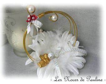 Ring bearer white, red and gold rings feathers and Angel