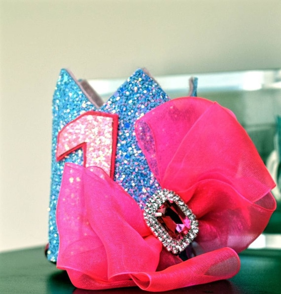 1st birthday bright blue and pink crown, custom birthday hat, birthday photo prop, baby birthday outfit, tutu outfit, Princess crown