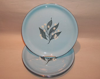 8575: Homer Laughlin Stardust SET 4 Blue Dinner Plates Farmhouse Mid Century Modern Vintage China at Vintageway Furniture
