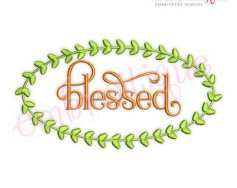Blessed with Leaf Frame Border - Fall Thanksgiving Harvest -Instant Download Machine Embroidery Design