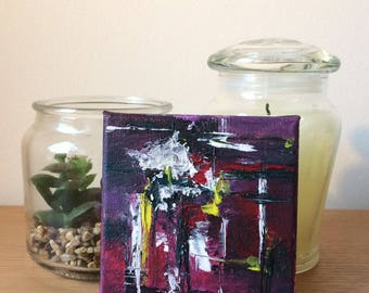 Miniature Abstract Acrylic Painting on Canvas: Purple ORIGINAL