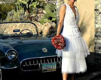 Tea Length Lace Wedding Dress-Tea Length Dress-Tea Length Wedding Dress-Tissue Linen-Tulle-Lace-Annaliese Skirt-Womens Clothing Bride Chic