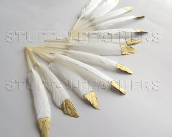 GOLD dipped feathers natural white, metallic gold hand painted loose duck feathers gold tip / 4.5-6 in (11.5-15 cm) long, 12 pcs /F120-4.5G