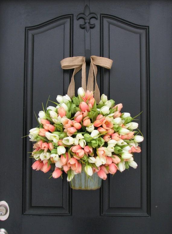 Tulips Farmhouse Door Wreaths Tulips Motheru0027s Day Wreath