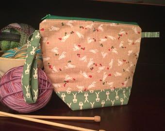 Zipper top knitting project bag, Bunnies print, Japanese fabric