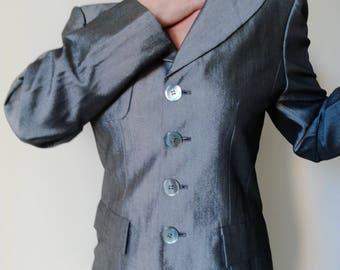 Woman JACKET Vintage 90 SPORTSTAFF Woman BLAZER Made in Italy Long Jacket Silver Peak Lapel sz. 44