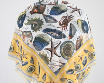 1980s Scientific Seashells Large Square Scarf by Symphony Made in Italy