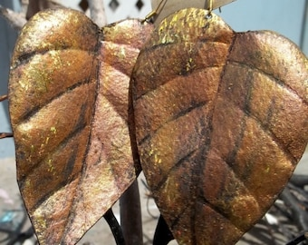 On Sale Large Bronze Gold Leather Leaf Earrings