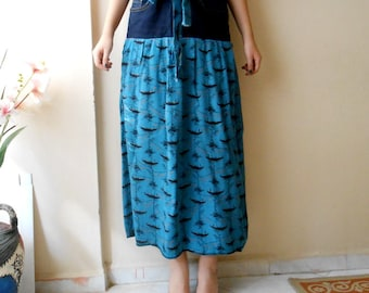 Blue Skirt, Upcycled Denim Skirt, Repurposed Jeans Woman's Clothing, Boat print Boho Skirt