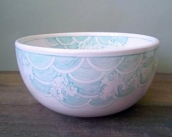 "Bowl ""waves"", sea blue, hand painted, earthenware, ceramics, dinner set, handmade, food safe, to use, soup bowl, housewarming, earthenware"