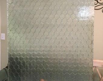 "14""x19"" Reclaimed Chicken Wire glass"