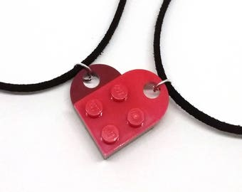 Separable Lego heart necklaces