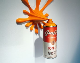 Warhol Graffiti Tomato Soup Splash Spray Can Sculpture