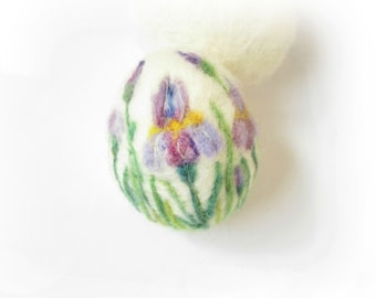 Easter Egg,Iris,Felted Egg,Needle Felted Easter Egg with Irises,3D,Soft Sculpture,Miniature Original Art