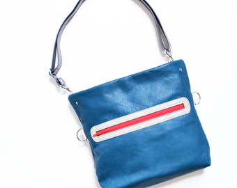 Leather Satchel Bag Women, Crossbody Small Messenger Purse, Handbag with Zippered Pockets, Everyday City Bag - The Abby in Pacific Blue