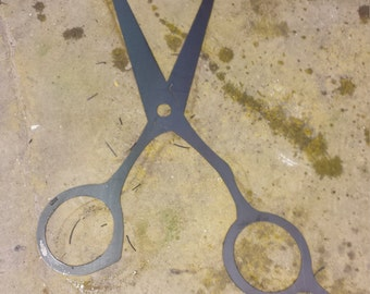 CNC Plasma Scissors Sign Salon / Barbor Shop Metal Sign Powder Coated or Raw Steel
