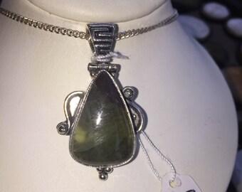 Moss prehnite and silver pendant