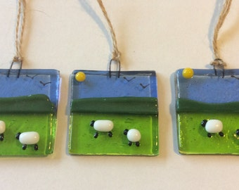 Fused Glass Sheep and Spring Lamb Small Sun Catcher Hanging Gift Decoration