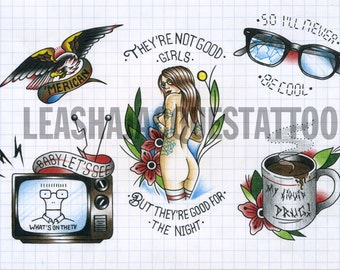 Punk inspired 29cm x 21cm traditional tattoo flash print. Limited to 20 prints.