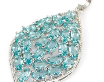 Handmade Natural Aquamarine 925 Sterling Silver Pendant Necklace - Fine Art Pendant Necklace - Natural Stone Aquamarine Necklace