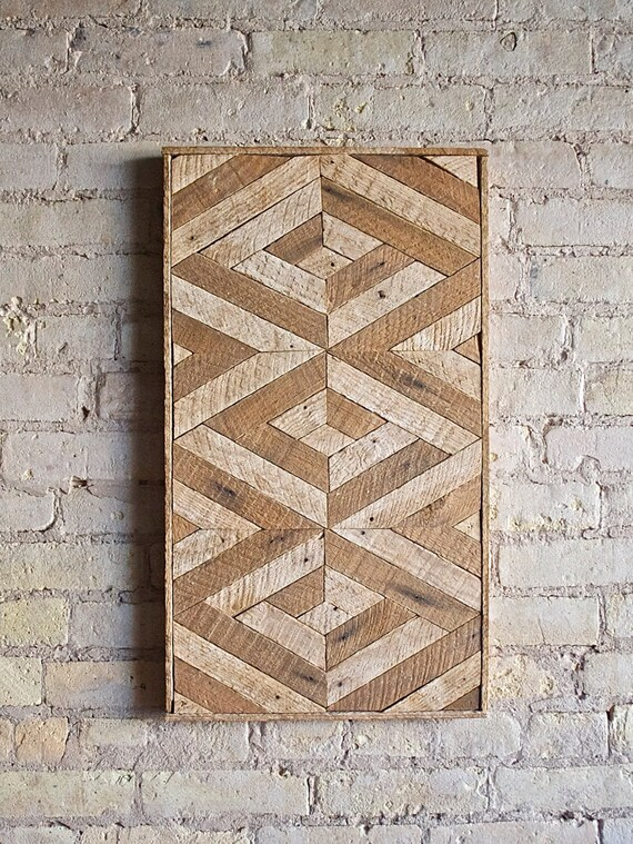 Reclaimed Wood Wall Art, Lath, Decor,Pattern, 3D, Geometric, Chevron