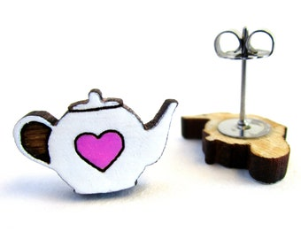 Teapot Heart Earrings, Stainless Steel Studs, Gift for Tea Lovers, Hand Painted Miniature Teapot Wood Earrings