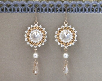 Crystal wedding earrings, Swarovski drop earrings, Champagne earring, Pearl dangle earrings, Pearl bridal earrings, Swarovski pearl earrings